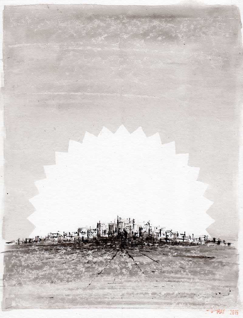 Michael Croft - City of Dreams, ink drawing