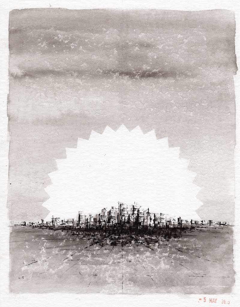 City of Dreams. Ink drawing - Michael Croft