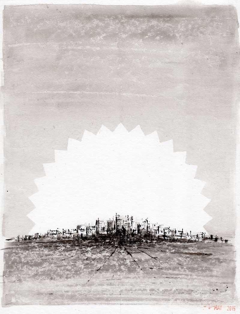 City of Dreams. Ink drawing - Michael Croft