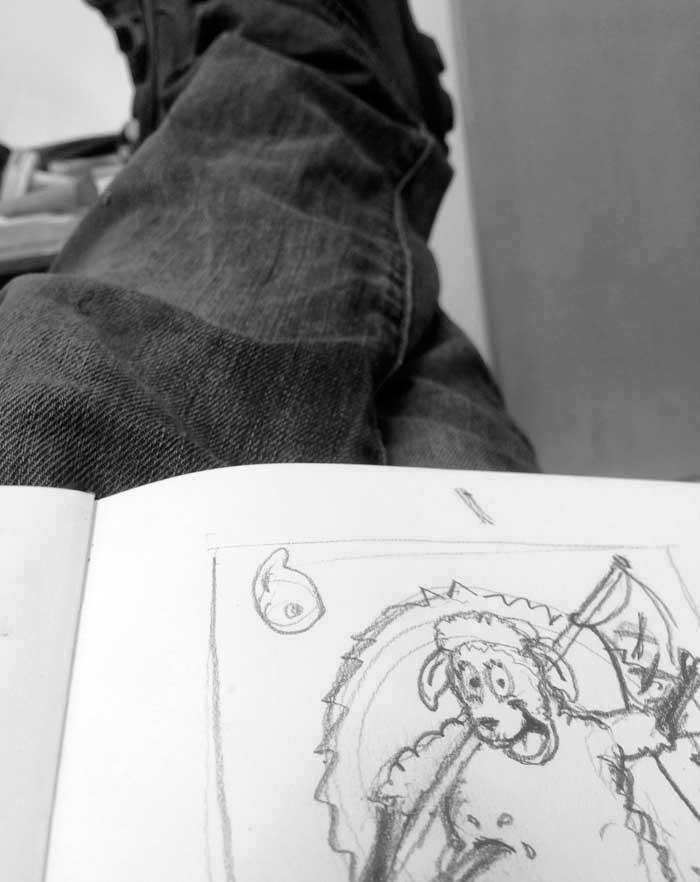 Michael Croft sketching 'Sheep' in the studio