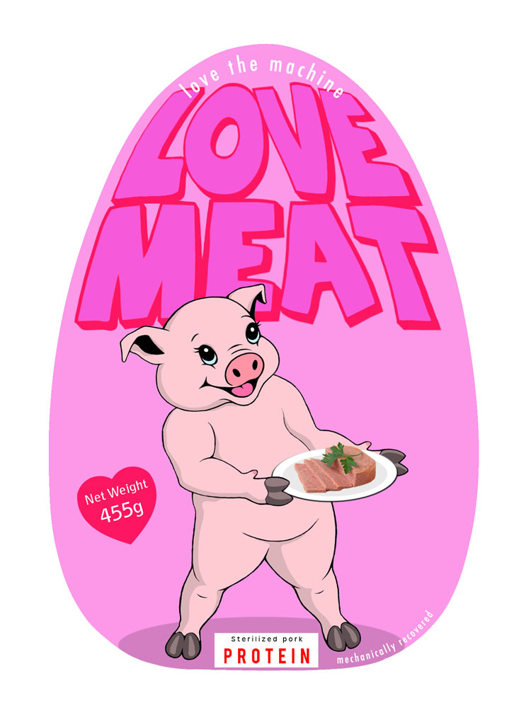 Love Meat | Michael Croft | Piglet graphic for tin of processed ham