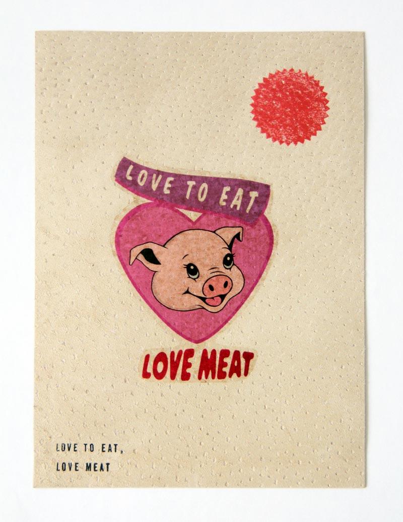 Temporary Tatto on Pig Skin - Love Meat - Michael Croft   art   artist   painting