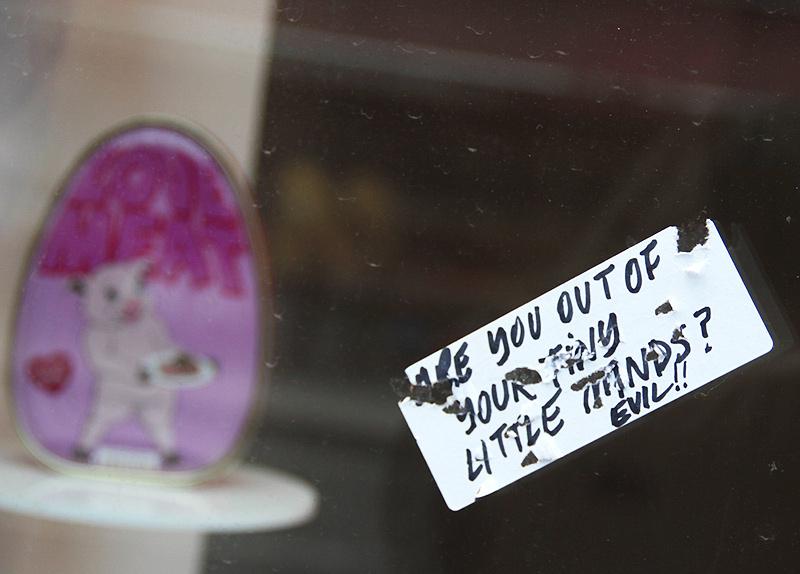 Love Me, Love Meat | Michael Croft | Artist | Window Installation | Vandalism | Building F, Stoke Newington, Hackney