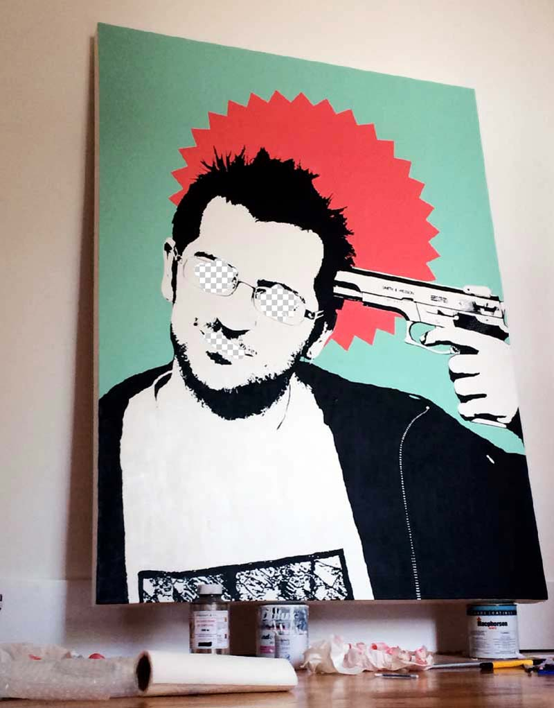 Banksy portrait - The Gamble -  Michael Croft  2015